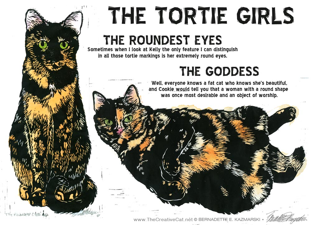 The Tortie Girls Linoleum Block Prints
